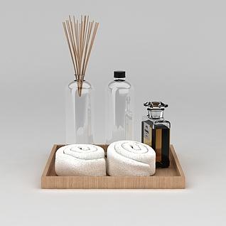 毛巾和洗漱用品3d模型