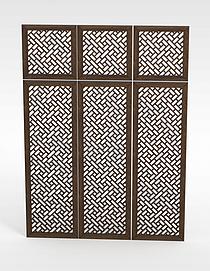 中式镂空木窗模型