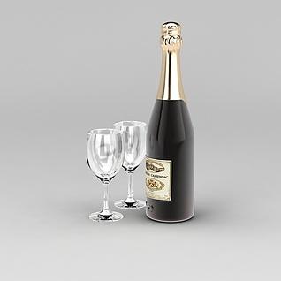 红酒和酒杯3d模型3d模型