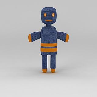 蓝色布艺卡通人物玩偶3d模型