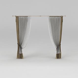 双层窗帘3d模型