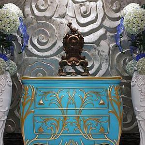 3d現代簡歐花紋玄關柜模型