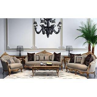 新古典雕花沙发组合3d模型