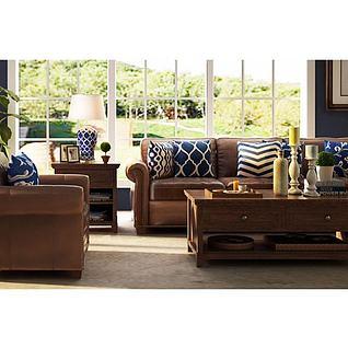 美式客厅沙发茶几边柜组合3d模型