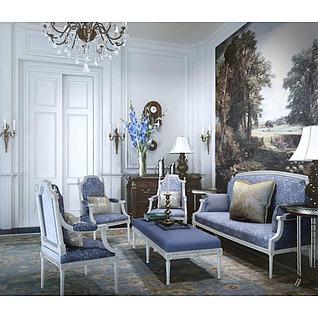 法式沙发椅子组合3d模型
