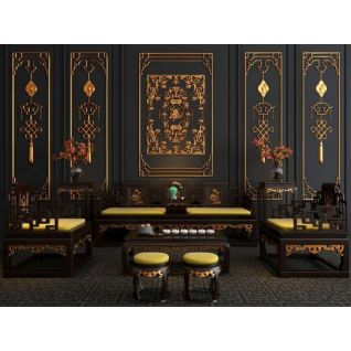 古典奢华雕花沙发椅子组合3d模型