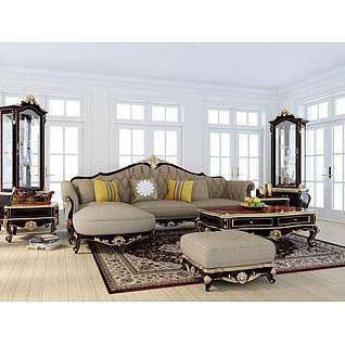 欧式雕花沙发茶几组合3d模型