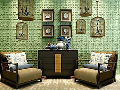鸟笼文化墙沙发柜子组合模型3d模型