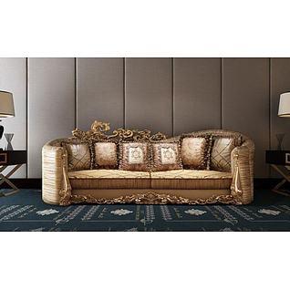 奢华欧式雕花沙发3d模型