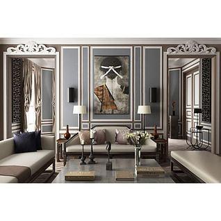 欧式沙发茶几雕花镜子组合3d模型