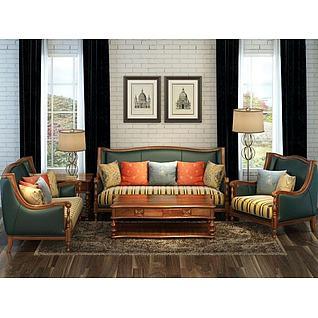 现代美式沙发茶几组合3d模型
