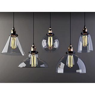 复古工业风玻璃吊灯3d模型