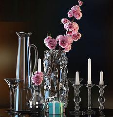 玻璃花瓶烛台插花摆件组合模型3d模型
