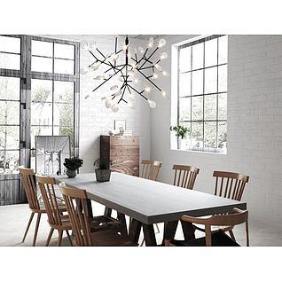北欧树枝吊灯餐桌椅组合3d模型