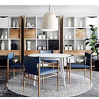北欧现代餐桌椅休闲椅子吊灯组合3D模型3d模型