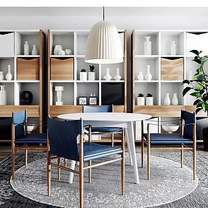 3d北欧现代餐桌椅休闲椅子吊灯组合模型