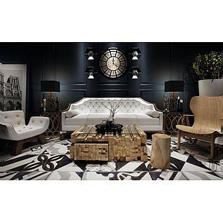 现代艺术造型茶几沙发组合3d模型