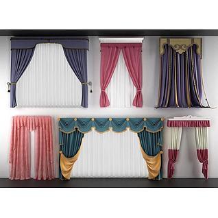常用款儿童房窗帘3d模型