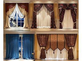 现代美式中式窗帘组合模型