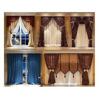 现代美式中式窗帘组合3d模型