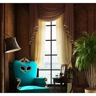 欧式豪华单人沙发窗帘组合3d模型