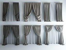 高品质现代素色窗帘模型