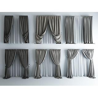 高品质现代素色窗帘3d模型