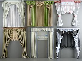 欧式田园窗帘组合模型
