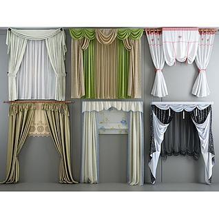 欧式田园窗帘组合3d模型