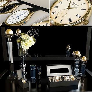 手表烛台花卉组合3d模型