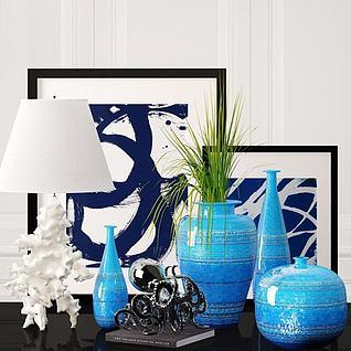 现代台灯花瓶饰品组合3d模型