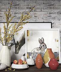 现代陶瓷花瓶摆件组合模型3d模型