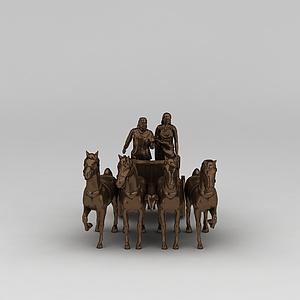 纯铜人物雕塑摆件模型3d模型