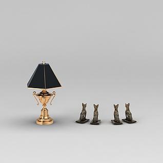 欧式台灯和猫摆件3d模型