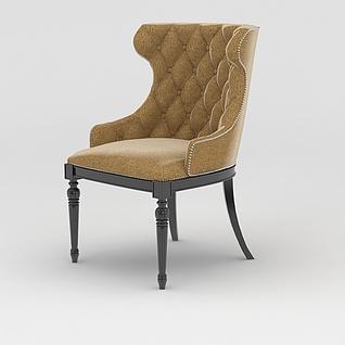 美式靠背沙发椅3d模型3d模型