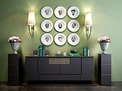 现代简约柜子碗碟墙饰组合模型3d模型