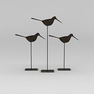 中式小鳥擺件模型3d模型
