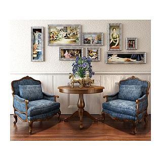 西式古典桌椅3d模型