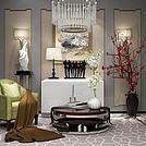 现代边柜椅子梅花花瓶组合模型