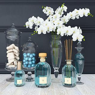 现代香薰瓶花瓶摆件组合3d模型