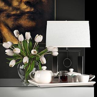 现代茶具花卉陈设饰品组合3d模型