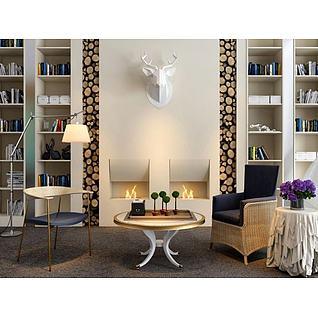 北欧壁炉书柜单椅茶几组合3d模型
