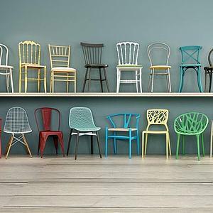 3d北欧简约餐椅模型