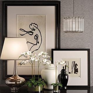 现代花瓶台灯摆设3d模型