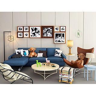 小户型客厅简约沙发椅子茶几组合3d模型