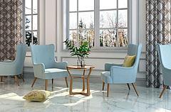 北欧清新蓝色休闲椅组合3D模型3d模型