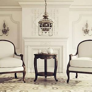 3d<font class='myIsRed'>美式沙发</font>椅壁炉吊灯组合模型