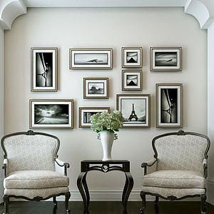 3d<font class='myIsRed'>美式沙发</font>椅茶几组合模型