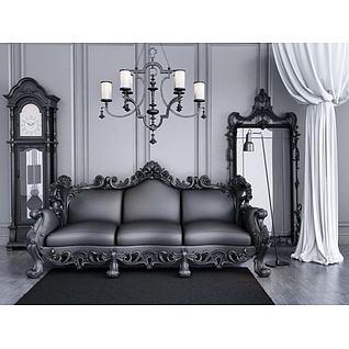 欧式古典落地钟沙发吊灯组合3d模型