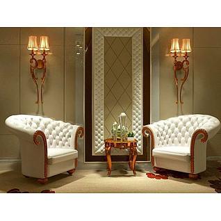 欧式壁灯沙发茶几组合3d模型